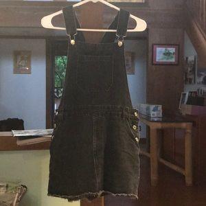 Black jeans skirt overalls